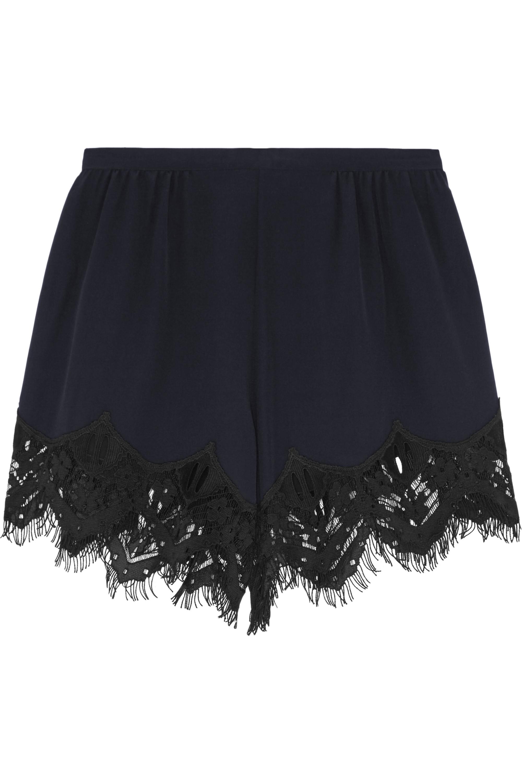 Chloé Lace-trimmed silk crepe de chine shorts