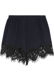 Lace-trimmed silk crepe de chine shorts