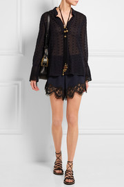 Chloé Lace-trimmed silk crepe de chine shorts