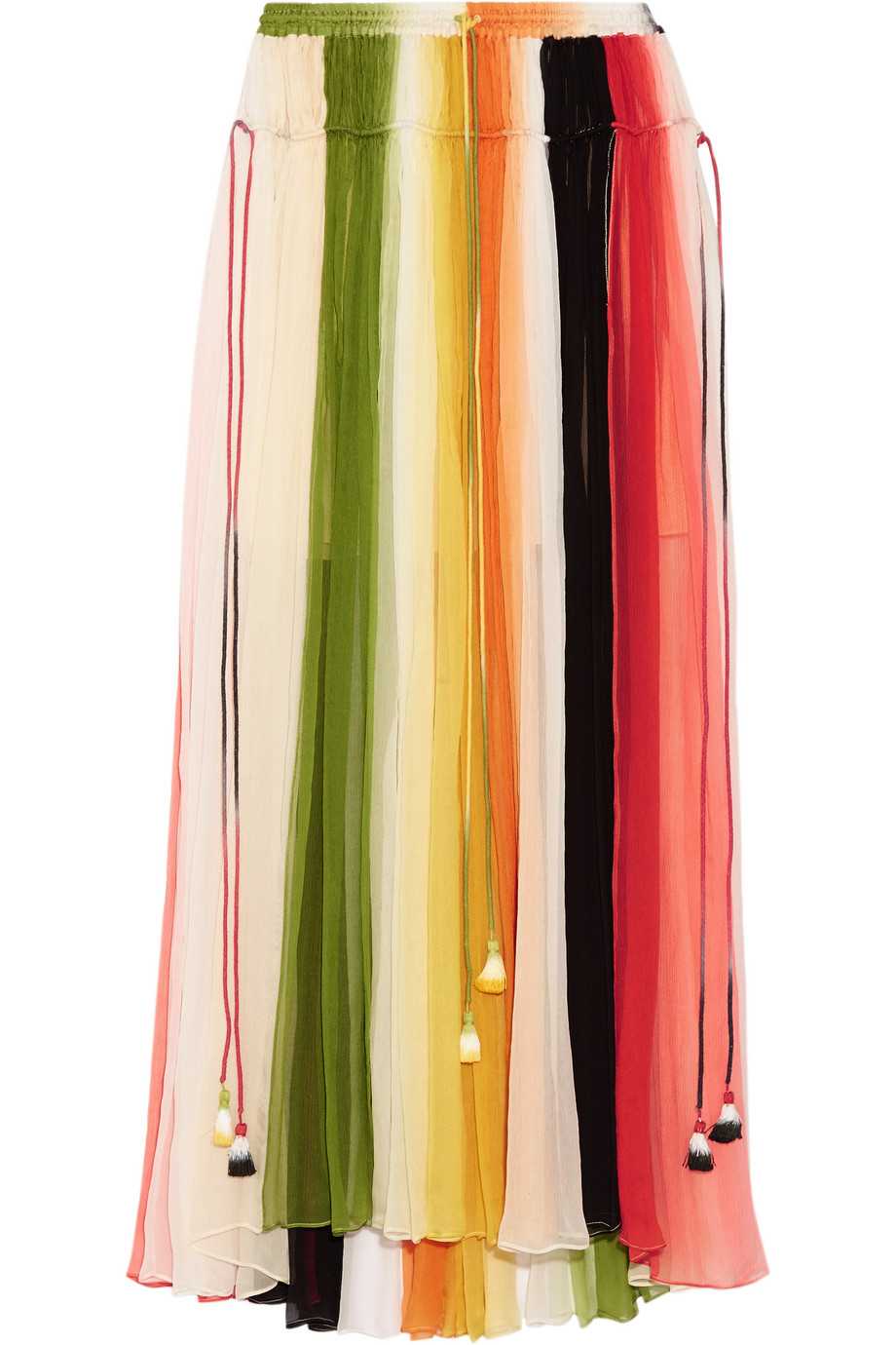 Chloé Striped Silk-Crepon Maxi Skirt, Orange/Green, Women's, Size: 34
