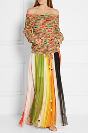 Chloé Striped silk-crepon maxi skirt