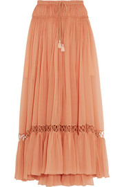 Guipure lace-trimmed silk-crepon maxi skirt