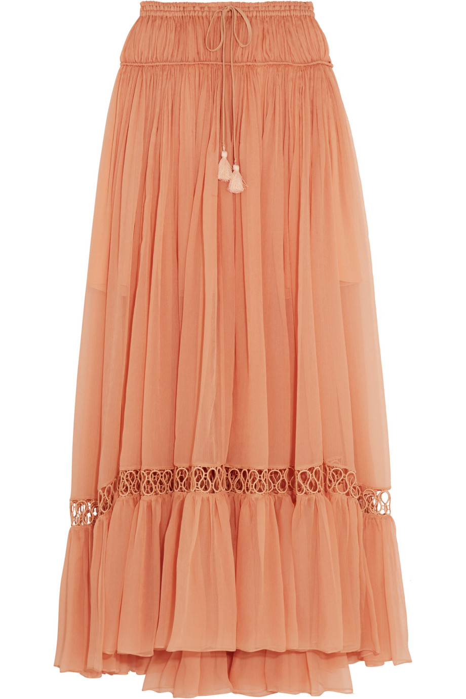Chloé Guipure Lace-Trimmed Silk-Crepon Maxi Skirt, Coral, Women's, Size: 36