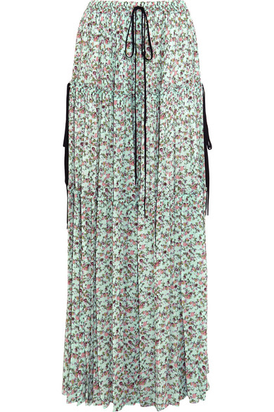 Chloé - Tiered Floral-print Crepe De Chine Maxi Skirt - Turquoise