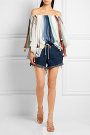 Chloé Off-the-shoulder striped silk-georgette top