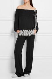 Chloé Off-the-shoulder macramé lace-trimmed plissé-chiffon blouse