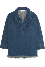 Oversized frayed denim shirt