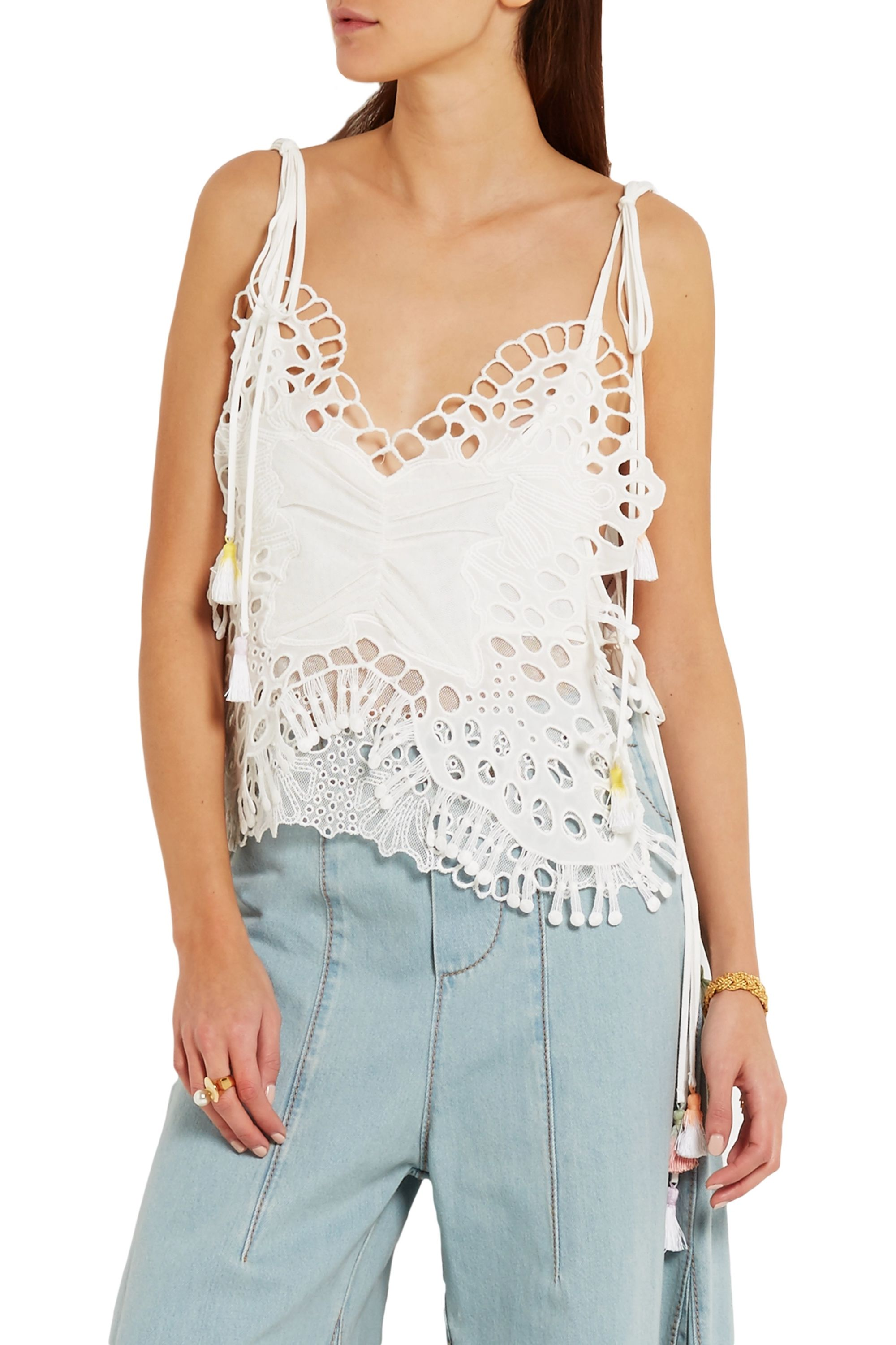 Chloé Tasseled broderie anglaise and tulle-paneled linen-blend camisole