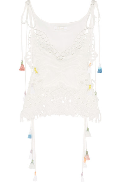 Chloé - Tasseled Broderie Anglaise And Tulle-paneled Linen-blend Camisole - Ivory