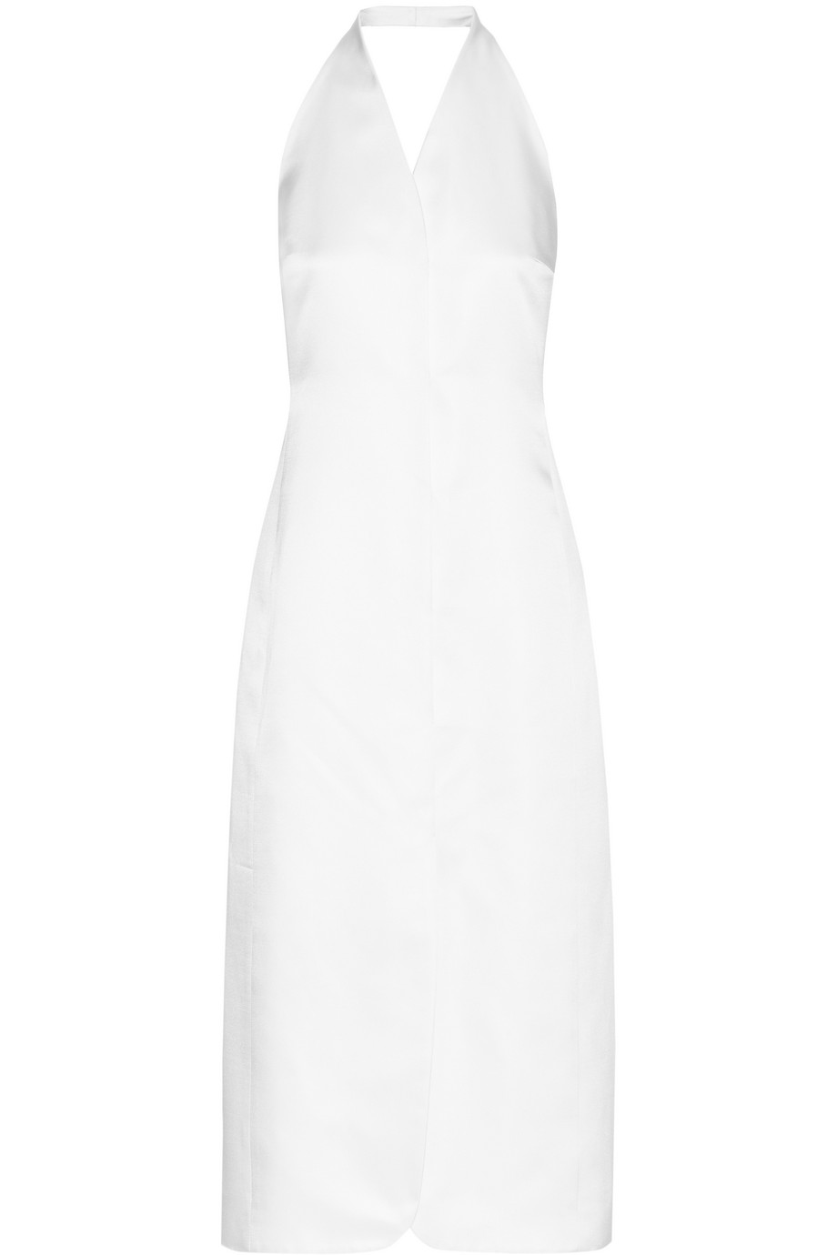 The Row Lieke Silk-Satin Halterneck Midi Dress, Off-White, Women's, Size: 10