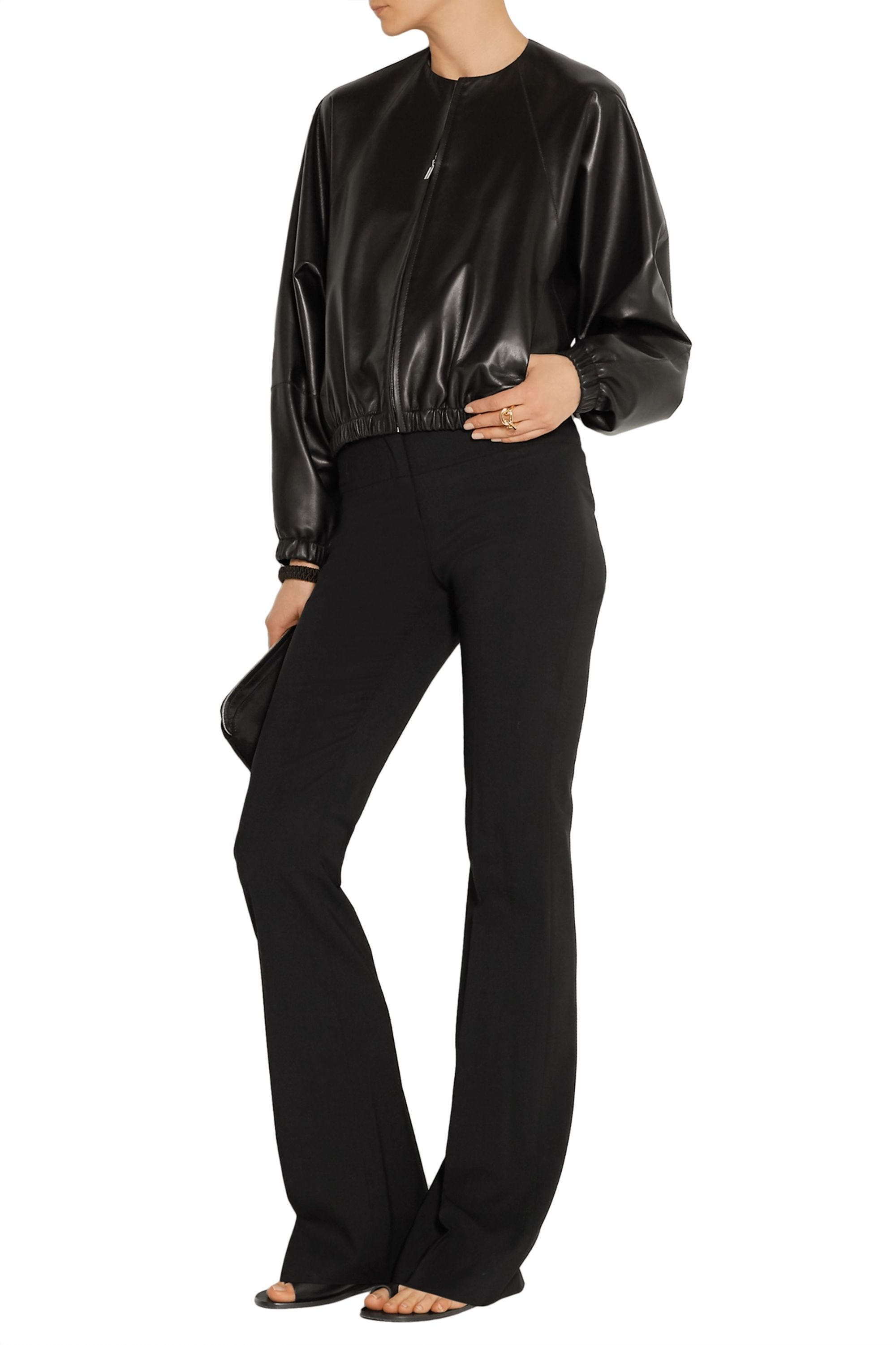 The Row Leather bomber jacket