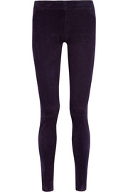 Moto stretch-suede leggings