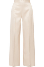 Selip silk and wool-blend shantung wide-leg pants
