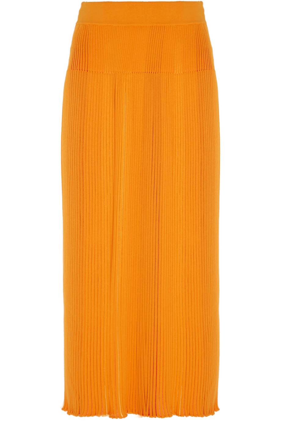 Sonia Rykiel Ribbed-Knit Skirt, Saffron/Orange, Women's