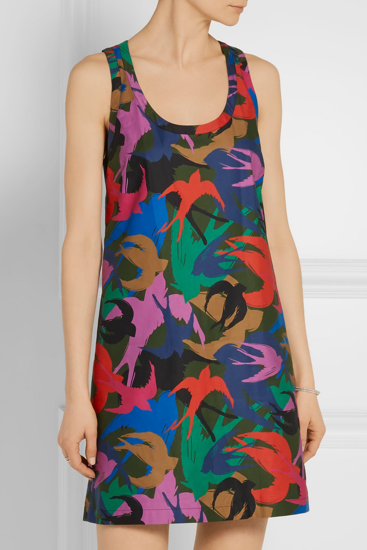 Sonia Rykiel Off-the-shoulder printed cotton-poplin mini dress
