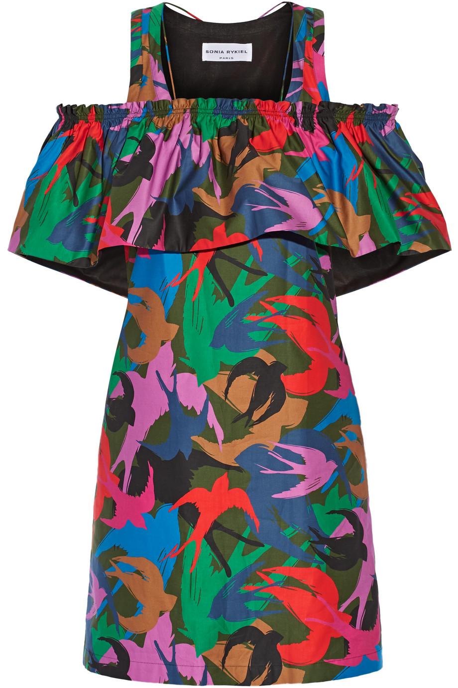 Sonia Rykiel Off-the-Shoulder Printed Cotton-Poplin Mini Dress, Green, Women's, Size: 40