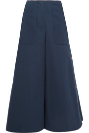 Embellished cotton-blend twill wide-leg pants