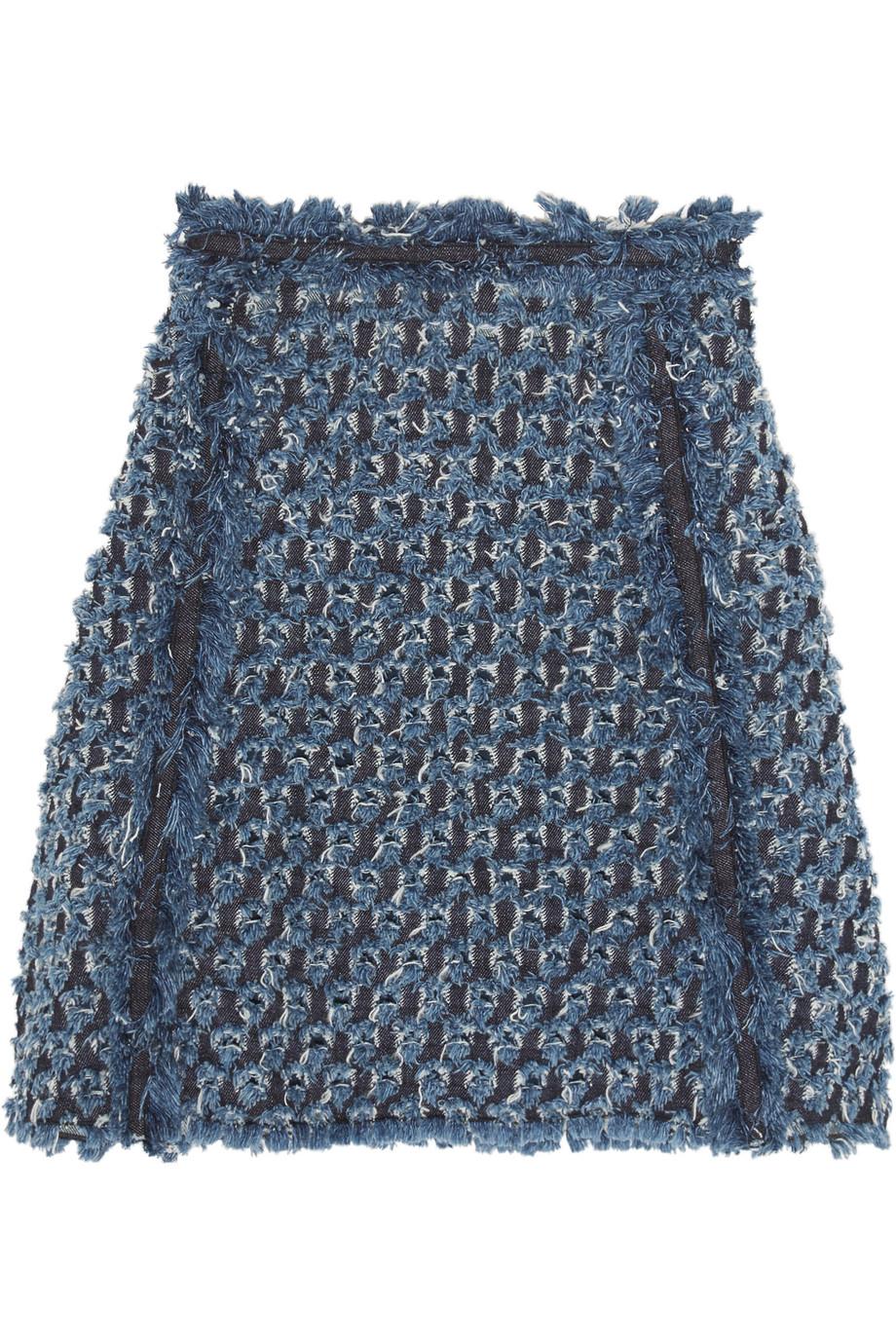 Sonia Rykiel Frayed Laser-Cut Denim Mini Skirt, Blue, Women's, Size: 34
