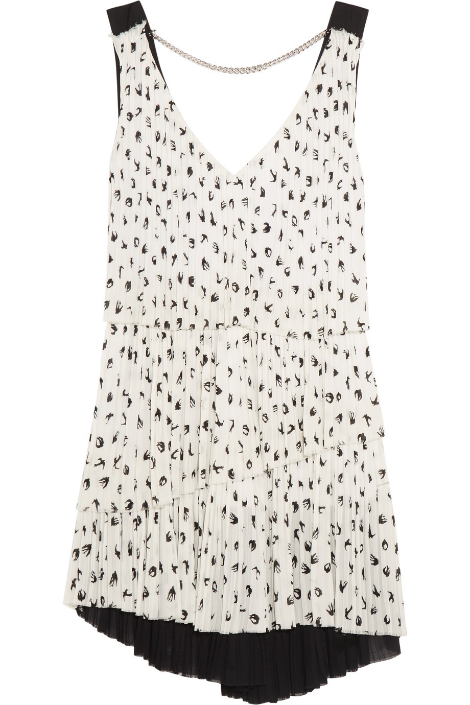 Sonia Rykiel Pleated Printed Crepe Mini Dress, White, Women's, Size: 34