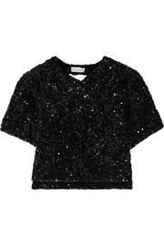 Sonia Rykiel Cutout sequined knitted top