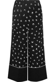 Printed stretch-crepe wide-leg pants