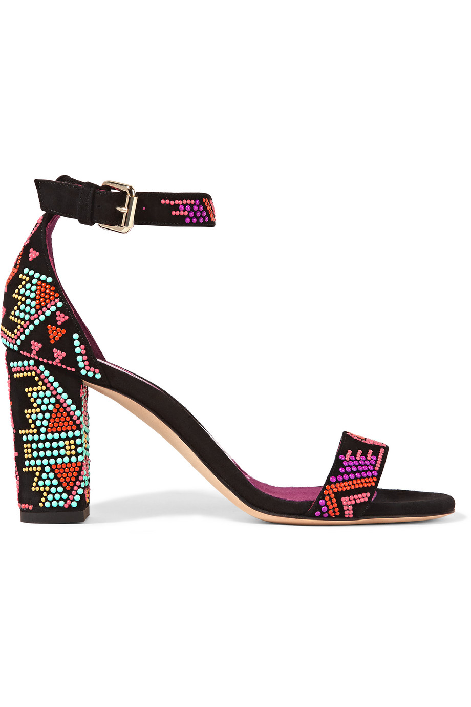 Brian Atwood Margo Beaded Suede Sandals, Black/Magenta, Women's US Size: 10.5, Size: 41