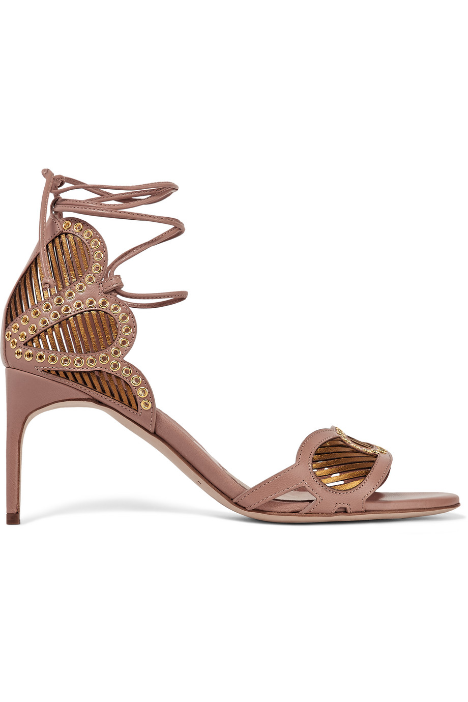 Brian Atwood Gabriela Eyelet-Embellished Leather Sandals, Beige, Women's US Size: 7.5, Size: 38