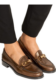 Metallic textured-leather loafers