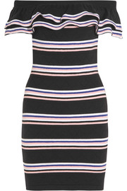 Off-the-shoulder striped stretch cotton-blend mini dress