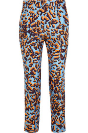 Leopard-print silk-twill straight-leg pants