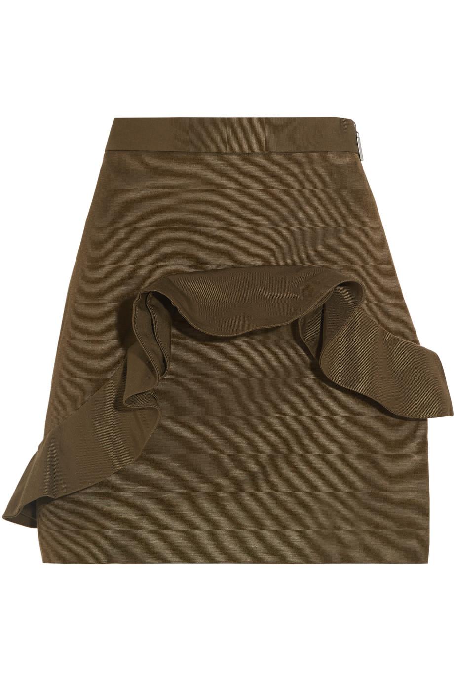 MSGM Ruffled Cotton-Blend Faille Mini Skirt, Army Green, Women's, Size: 38