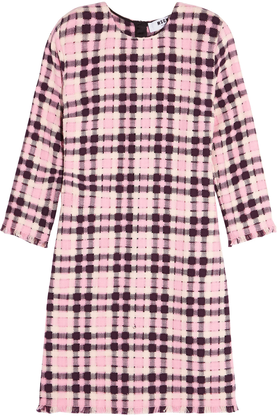MSGM Open-Weave Cotton-Tweed Mini Dress, Pink, Women's - Plaid, Size: 38