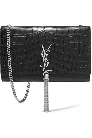 Classic Medium Monogram Saint Laurent Tassel Satchel In Fog Crocodile Embossed Leather