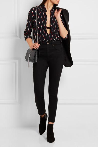 Saint Laurent Classic Monogram Saint Laurent Tassel Clutch In Black Cracked Shiny Leather