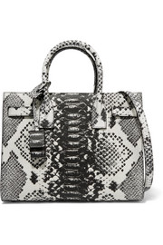 Sac De Jour Baby python-effect leather tote