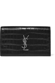 Monogramme croc-effect leather clutch