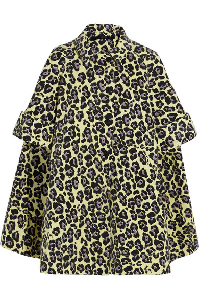 Sibling - Oversized Leopard-print Denim Coat - Yellow