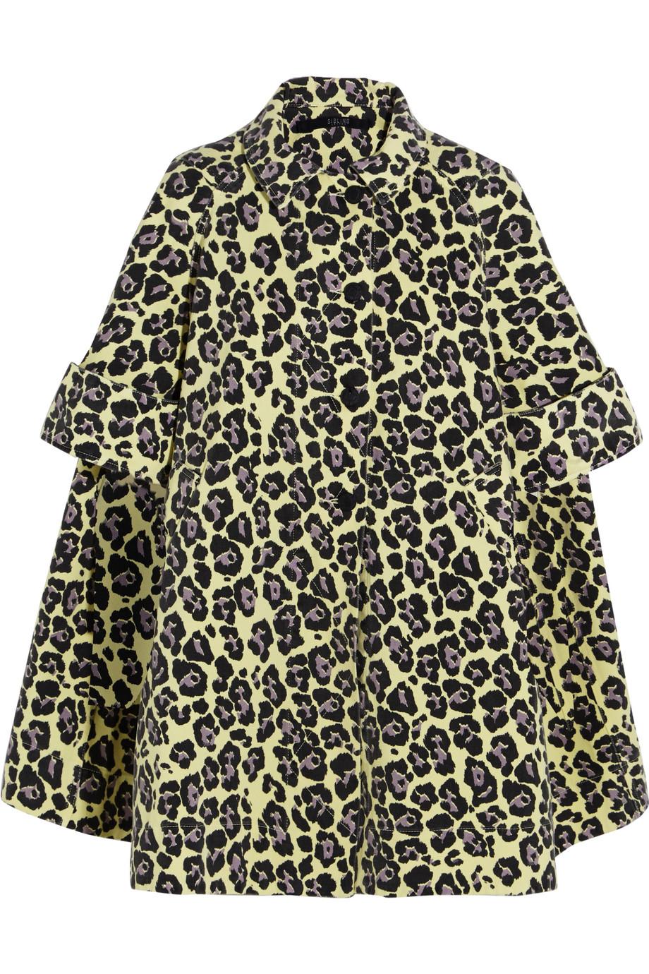 Sibling Oversized Leopard-Print Denim Coat, Yellow/Leopard Print, Women's