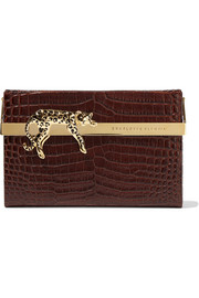 Charlotte Olympia Savage Vanina embellished croc-effect glossed-leather clutch