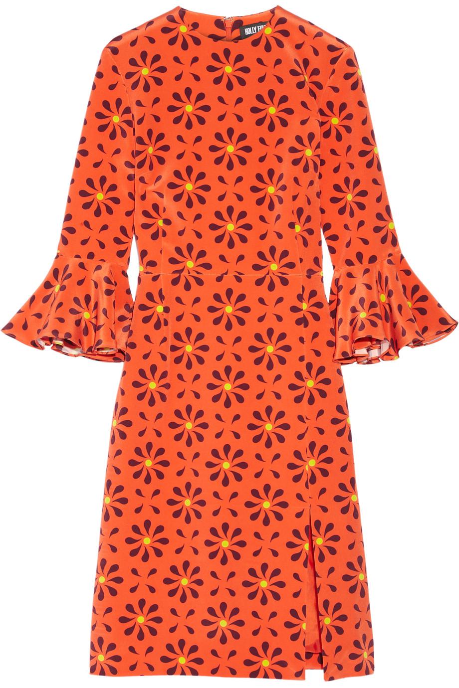Holly Fulton Irina Printed Ruffle-Trimmed Silk Crepe De Chine Dress, Orange, Women's, Size: 12