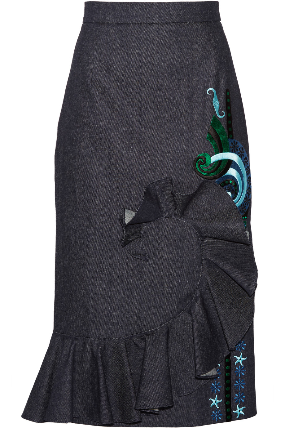 Holly Fulton Ruffled Embroidered Denim Midi Skirt, Dark Denim, Women's, Size: 10
