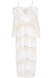 Point d'esprit-paneled tiered lace gown