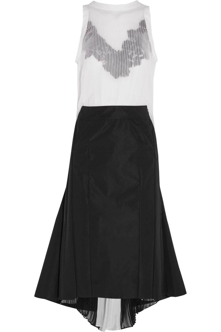 Sacai Guipure Lace-Trimmed Plissé-Chiffon and Crepe Dress, Off-White, Women's, Size: 1