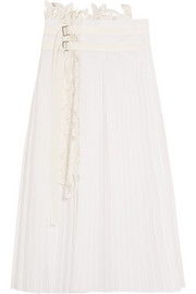 Pleated poplin and broderie anglaise satin skirt