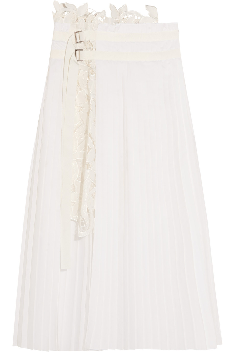 Sacai Pleated Poplin and Broderie Anglaise Satin Skirt, Off-White, Women's, Size: 3