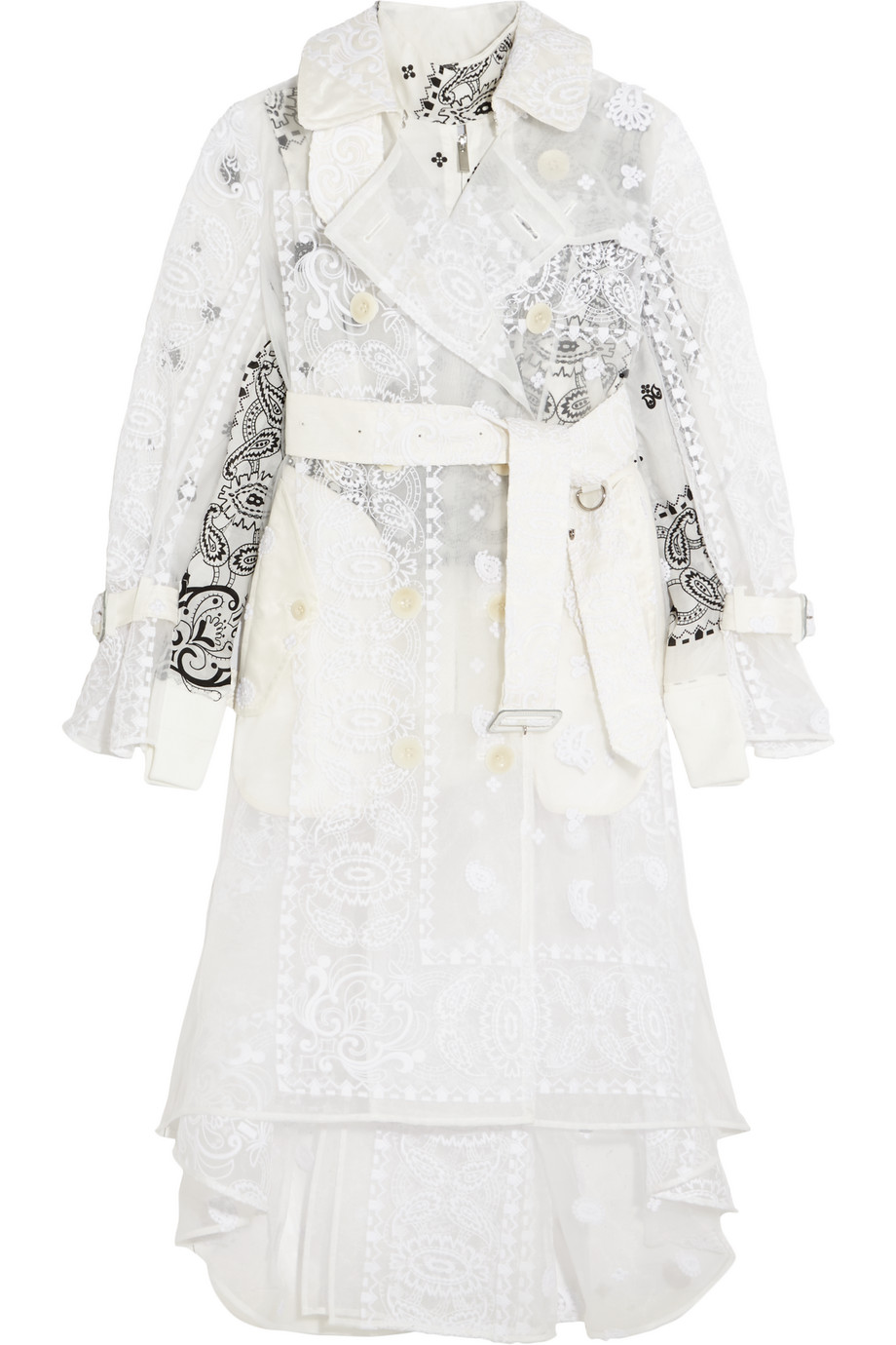 Sacai Embroidered Organza and Printed Poplin Trench Coat, Off-White, Women's, Size: 3