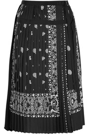Pleated printed crepe skirt