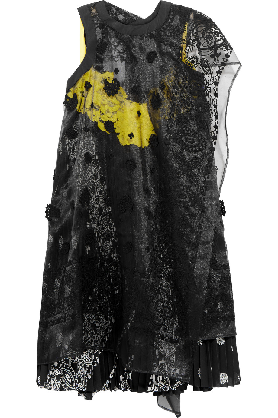 Sacai Embroidered Organza and Lace-Paneled Printed Voile Dress, Black, Women's - Embroidered, Size: 1