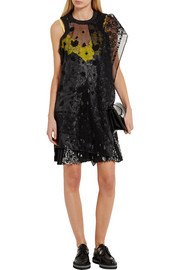 Embroidered organza and lace-paneled printed voile dress
