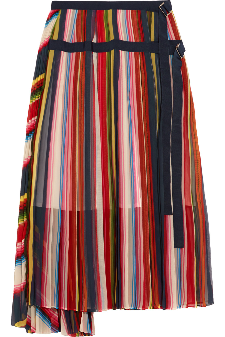 Sacai Grosgrain-Trimmed Pleated Striped Chiffon Skirt, Red/Pink, Women's, Size: 2